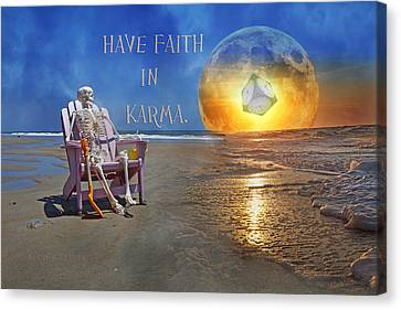 Skull Canvas Print - Have Faith In Karma by Betsy Knapp