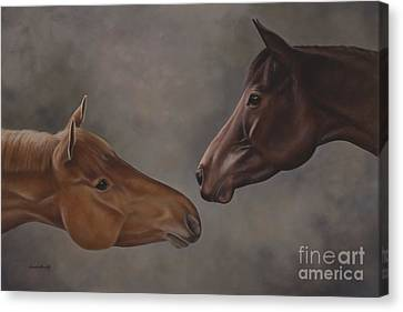 Bay Horse Canvas Print - Have We Met by Linda Shantz