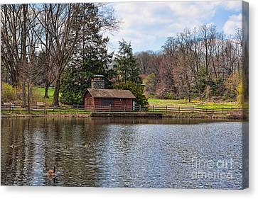 Haverford Skating Cabin Canvas Print by Kay Pickens