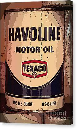 Havoline Motor Oil Can Canvas Print by Carrie Cranwill