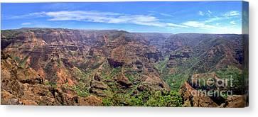Hawaii Kauai Waimea Canyon Beautiful Panorama Canvas Print by David Zanzinger