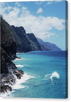 Hawaii, Kauai, Waves From The Pacific Canvas Print by Christopher Talbot Frank