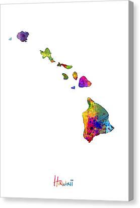 Hawaii Map Canvas Print by Michael Tompsett