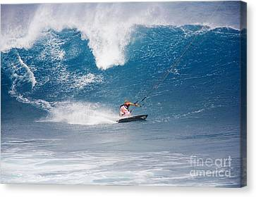 Hawaii, Maui, Ho_okipa, Pete Cabrinha Kitesurfing On Large Blue Wave. Canvas Print by Ron Dahlquist