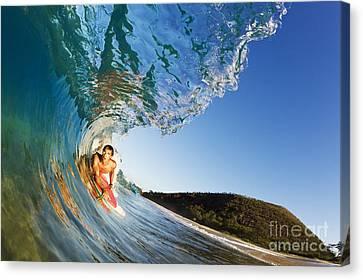 Hawaii, Maui, Makena - Big Beach, Boogie Boarder Riding Barrel Of Beautiful Wave, Sunrise Light. Canvas Print by MakenaStockMedia
