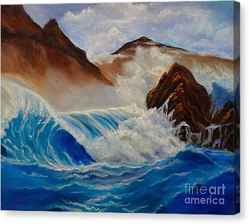 Canvas Print featuring the painting Hawaii On The Rocks by Jenny Lee