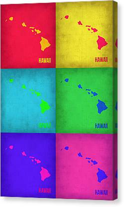 Hawaii Pop Art Map 1 Canvas Print by Naxart Studio