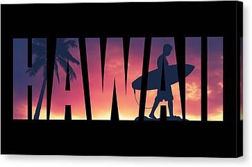 Hawaii Postcard Canvas Print by Mr Doomits