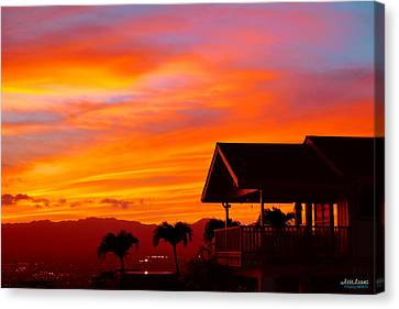 Canvas Print featuring the photograph Hawaii Sunset Behind The Waianae Mountain Range by Aloha Art