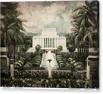 Hawaii Temple Laie Antique Canvas Print