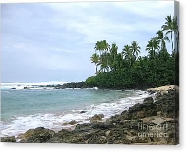 Volcano Rock Canvas Print - Hawaii Volcano Rock At Seaside by Marsha Heiken