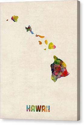 Hawaii Watercolor Map Canvas Print by Michael Tompsett