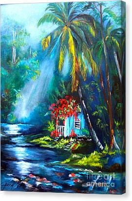 Canvas Print featuring the painting Hawaiian Hut In The Mist by Jenny Lee
