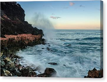 Canvas Print featuring the photograph Hawaiian Lava Rocks And Crashing Waves by RC Pics