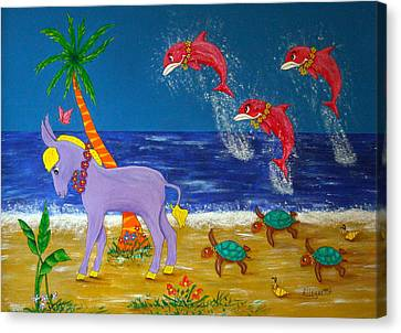 Hawaiian Lei Parade Canvas Print by Pamela Allegretto