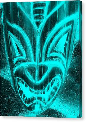 Hawaiian Mask Negative Aquamarine Canvas Print by Rob Hans