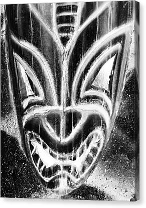 Hawaiian Mask Negative Black And White Canvas Print by Rob Hans