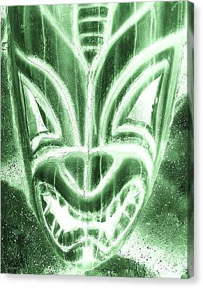 Hawaiian Mask Negative Olive Canvas Print by Rob Hans