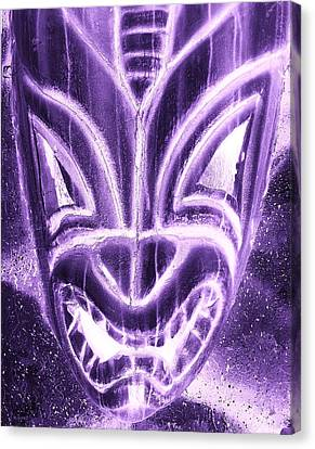 Hawaiian Mask Negative Purple Canvas Print by Rob Hans
