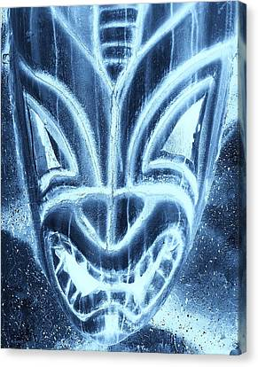Hawaiian Mask Negative Turquoise Canvas Print by Rob Hans