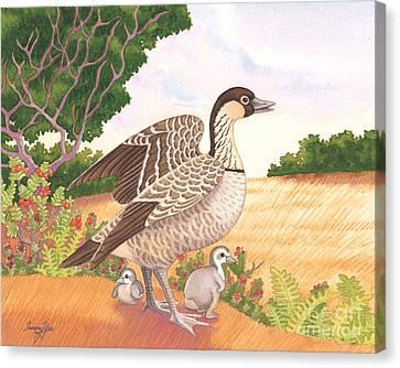 Hawaiian Nene Goose And Goslings Canvas Print by Tammy Yee