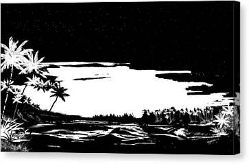 Tropical Beach Canvas Print - Hawaiian Night by Anthony Fishburne