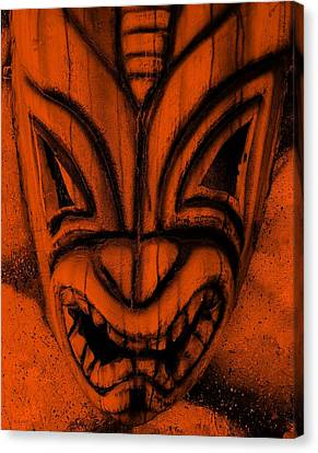 Hawaiian Orange Mask Canvas Print by Rob Hans