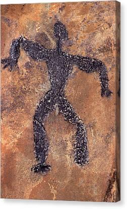 Hawaiian Rock Art Canvas Print - Hawaiian Petroglyph Of Man On Rock by Vintage Images
