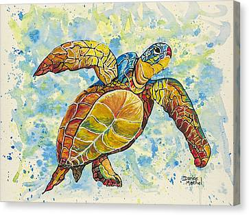 Canvas Print featuring the painting Hawaiian Sea Turtle 2 by Darice Machel McGuire