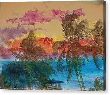Hawaiian Sunset Canvas Print by Athala Carole Bruckner