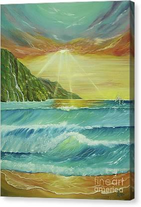 Hawaiian Sunset Canvas Print by Gigi  Cook