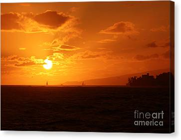 Hawaiian Sunset Canvas Print by Mary Mikawoz