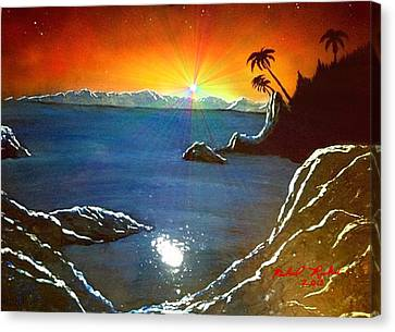 Canvas Print featuring the painting Hawaiian Sunset by Michael Rucker