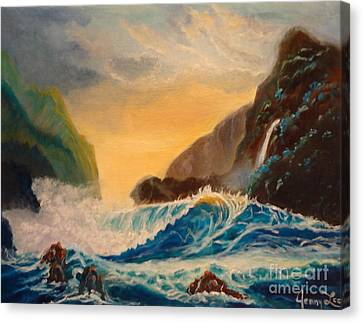Canvas Print featuring the painting Hawaiian Turquoise Sunset   Copyright by Jenny Lee