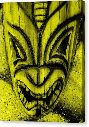 Hawaiian Yellow Mask Canvas Print by Rob Hans