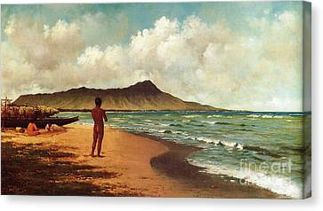 Diamond Head Canvas Print - Hawaiians At Rest by Pg Reproductions