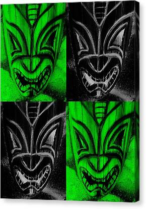 Hawaiian Masks Black Green Canvas Print by Rob Hans