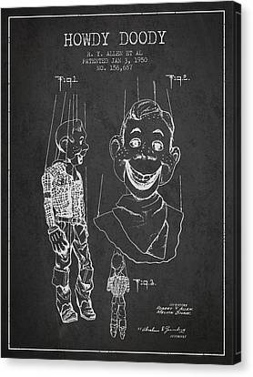 Hawdy Doody Patent From 1950 - Charcoal Canvas Print