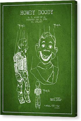 Hawdy Doody Patent From 1950 - Green Canvas Print