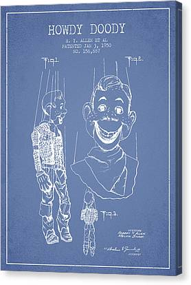 Hawdy Doody Patent From 1950 - Light Blue Canvas Print