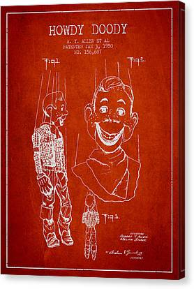 Hawdy Doody Patent From 1950 - Red Canvas Print