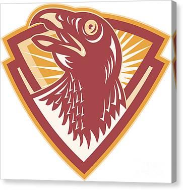 Hawk Head Shield Retro Canvas Print by Aloysius Patrimonio