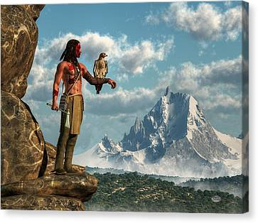 Hawk Warrior Canvas Print by Daniel Eskridge