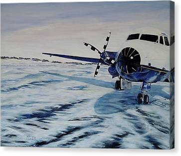 Canvas Print featuring the painting Hawker - Airplane On Ice by Marilyn  McNish