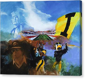 Hawkeye Football Montage Canvas Print by Stan Fellows