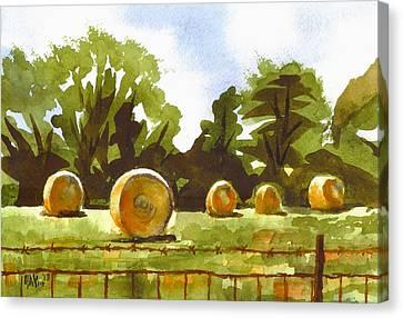 Hay Bales At Noontime  Canvas Print by Kip DeVore