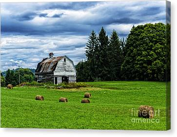 Hay Bales Barn Stormy Sky Canvas Print