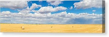 Hay Bales In A Field, Alberta, Canada Canvas Print