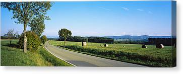 Hay Bales In A Field, Germany Canvas Print by Panoramic Images