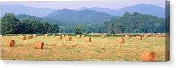 Hay Bales In A Field, Murphy, North Canvas Print by Panoramic Images